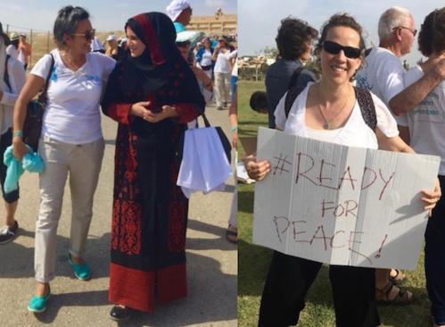 Dina (à g.) avec une militante palestinienne et Yael (à d.) en manifestation
