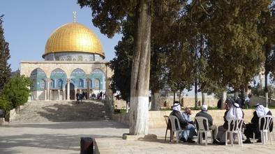 Jérusalem, une scène de la vie quotidienne sur l'esplanade des mosquées
