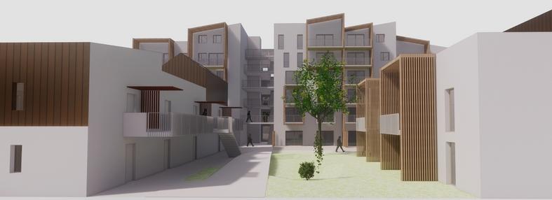 Cette esquisse en trois dimensions  représente l'ensemble de la copropriété. A gauche, les deux immeubles du projet d'habitat participatif. Esquisse réalisée par l'agence Rhizome