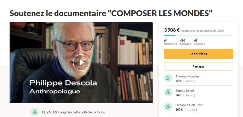 """Financement participatif : le documentaire de P. Descola """"Composer les mondes"""""""