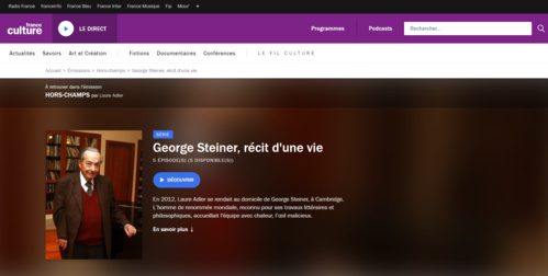 Sur France Culture, Georges Steiner, grand lettré européen