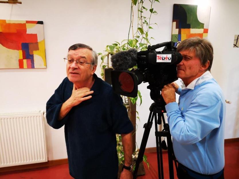 Daniel Juif avec Gilles Laugier en plein reportage à Pontivy en novembre 2019 pour l'Aresat (photo : Tugdual Ruellan).