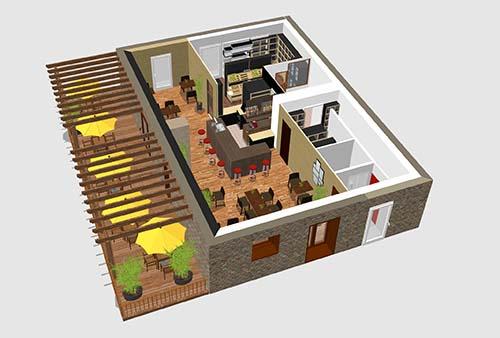 Le bar, l'épicerie, la terrasse, bientôt.