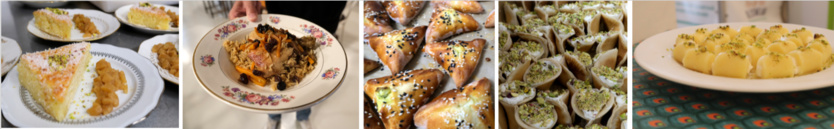 Basboussa, Kabouli, Halawet el jeben, Samboussek et Falafels, Atayefs, Fatayas,… Les délices du monde dans les assiettes.