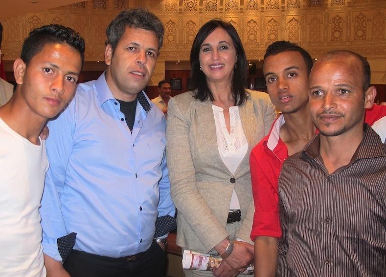 Au milieu des militants le 13 juin 2014 lors d'un meeting à Marrakech