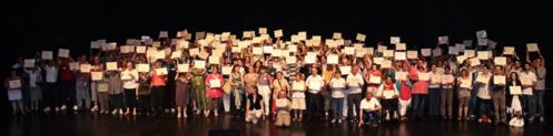 Remise des attestations de compétences à plus de 300 ouvrières et ouvriers, à Saint-Brieuc, le 3 juillet 2014.
