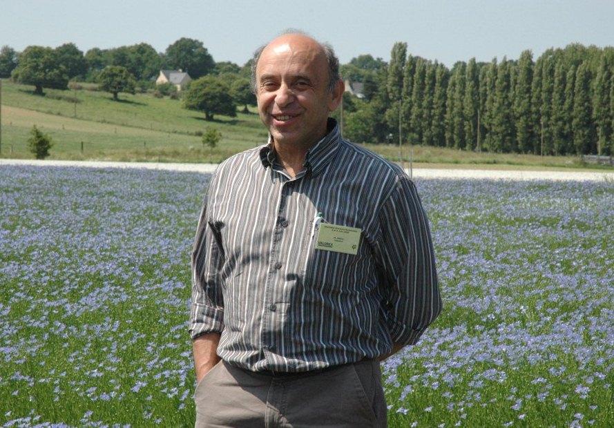 Pierre Weill dans un champ de lin