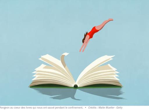 """illustration France culture : """"Plongeon au coeur des livres qui nous ont sauvé pendant le confinement. Crédits : Malte Mueller - Getty"""""""