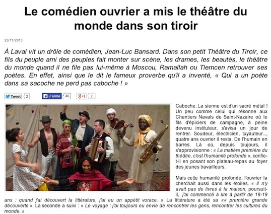 Le comédien de Laval reste un passeur dans le théâtre du monde