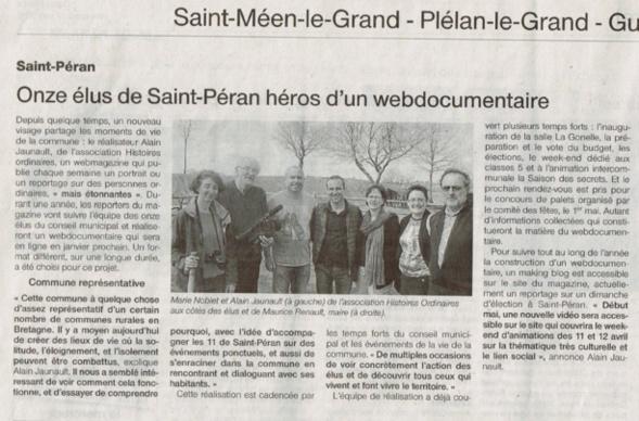 Ouest France informe les Saint Pérannais sur la réalisation du webdocumentaire